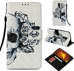 Shinyzone Flip Brieftasche Hülle für Xiaomi Pocophone F1,Weiße Rose 3D Bunt Gemälde 2 in 1 Buchstil Ledertasche mit Kartenfach und Magnetverschluss Standfunktion Handyhülle für Xiaomi Pocophone F1