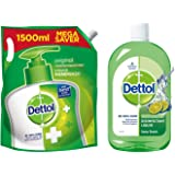 Dettol Original Germ Protection Handwash Liquid Soap Refill, 1500ml and Dettol Liquid Disinfectant Cleaner for Home, Lime Fre