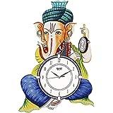 CIRCADIAN Ajanta Safa Ganesha Wooden Wall Clock for Home Living Room Office (Multicolour, 18 x 13 inches)