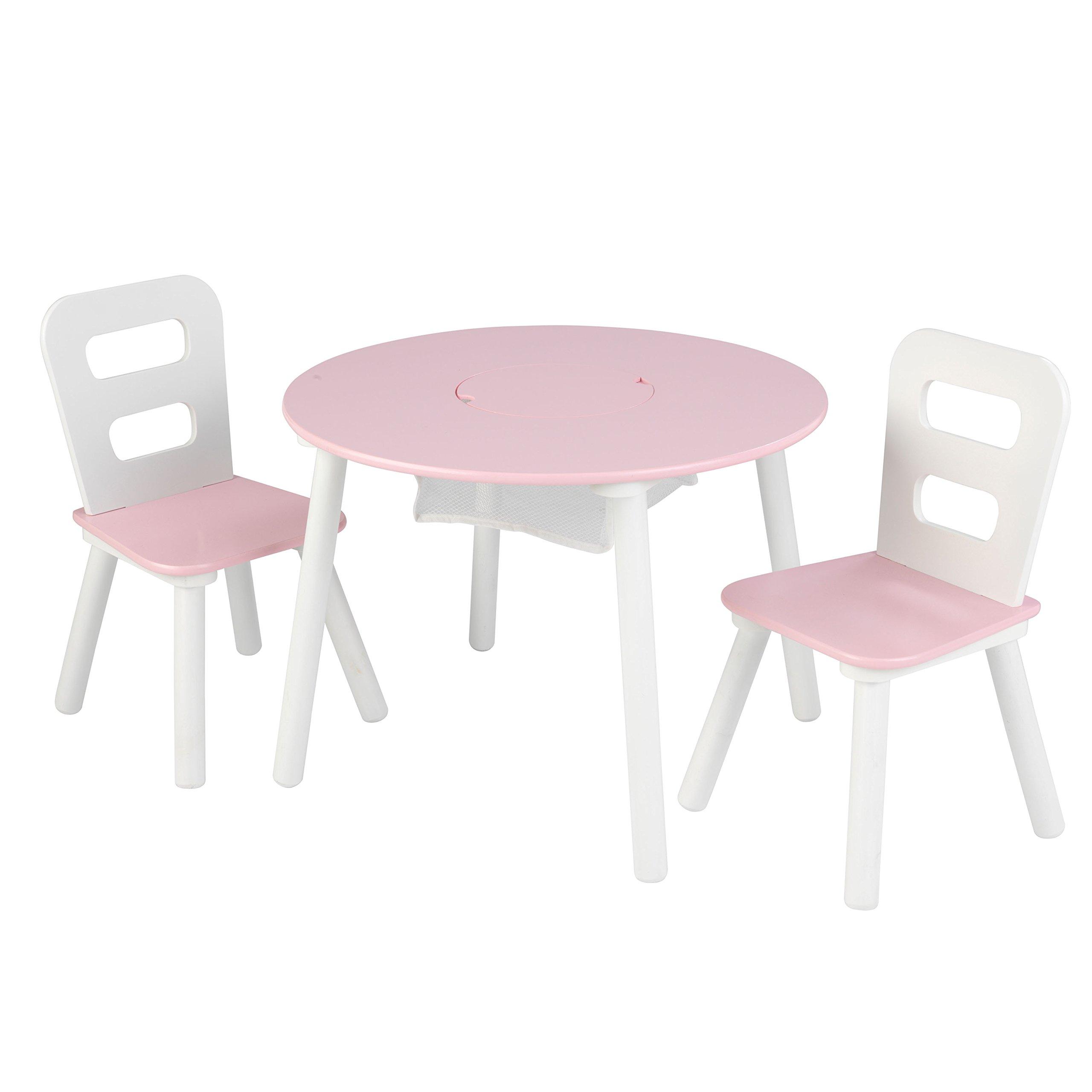 KidKraft 26165 Set Tavolo Rotondo con 2 Sedie in Legno, Mobili per Camera  da Letto e Sala Giochi per Bambini - Rosa e Bianco - Giochi Legno