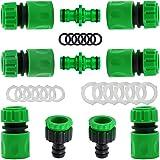 """YAAVAAW Lot de 10 Plastique connecteurs Rapides pour Tuyau d'arrosage (6 Hose Quick Connector,2 Double connecteur,2 Threaded Faucet Adapter) pour raccord de Robinet 1/2""""(21mm) et 3/4""""(26,5mm)"""