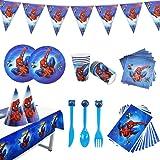 Ensemble de Vaisselle de fête 88 pièces - pour Anniversaire d'enfant - Décoration de Table - Spiderman Kit de décoration de f