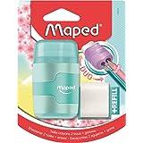 Maped Taille-Crayon Connect 2 Trous avec Gomme sans PVC + 1 Recharge Gomme Medium - Coloris Pastel Aléatoire Bleu, Violet ou