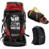 Mufubu Presents Get Unbarred 55 LTR Rucksack for Trekking, Hiking with Shoe Compartment and Duffel Gym Bag Combo