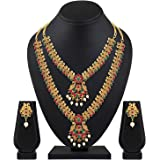 Shining Diva Fashion Latest Combo Design Pearl Necklace Set for Women Traditional Gold Plated Jewellery Set for Women (Multic