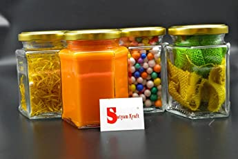 Satyam Kraft Hexagon Glass Jar and Container(300 ml) with Rust Proof Air Tight Lid ,suitable to use in your home office ,kitchen storage /glass jars set /glass jars for kitchen /glass jar containers /glass jar for gift /glass jar and containers for storage /glass jar for storage /glass jar for spices /glass jar pickle/ jars for jam/mason glass jar without hole/mason jars without handle