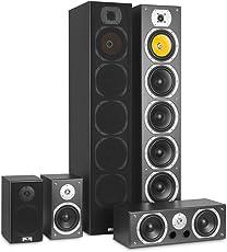 auna V9B Surround Lautsprecher • Boxen Set • Surround Sound-System • Heimkinosystem • gemasertes Bassreflex-Chassis • 400 Watt RMS • Frequenzgang: 20 Hz bis 20 kHz • Wandmontage möglich • schwarz
