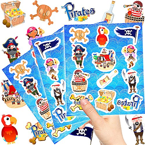- 144 x Piraten Kinder Sticker - Set┃ Neu ┃ Mix ┃ Kindergeburtstag ┃ Mitgebsel ┃ Piraten Party ┃ 12 Bögen ()