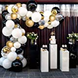Black Gold Balloon Garland Kit, 148 PCS Black White Gold Balloon Arch with Marble Balloons for Birthday Party Graduation Part