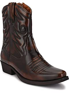Old West Kids Tan Leather R Toe Cowboy Boots 1 8129