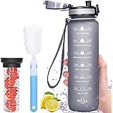 Favofit Bouteille d'eau avec infuseur de Fruits, 1L Bouteille d'eau motivante avec horodatage, sans BPA, étanche, idéal pour