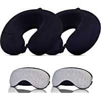 Trajectory Travel Neck Pillow with Sleeping Eye mask and 6 Months Warranty for Men and Women (Set of 2) Black