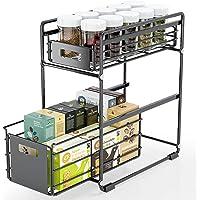 FINEW Sous évier étagère, Étagère à tiroirs, Panier de Rangement Coulissant à 2 Niveaux, étagère à épices étagère de…