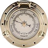 Qiilu Rome Retro Barometer Clock Temperature Humidity Meter for Navigation Marine RV Yacht Boat SUV(Barómetro de oro)