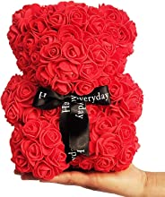 Webby Artificial Red Rose Teddy Bear Gift Toy, Size 23CM