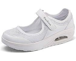 Sandalias para Mujer Malla Merceditas Plataforma Ligero Zapatillas Sneaker Mary Jane Casual Zapatos de Deporte Mocasines Negr