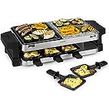 Klarstein Sirloin - Piastra per Raclette, Padelle per Raclette, 1500 Watt, 2 in 1: Alluminio e Pietra Naturale, Termoelemento in Acciaio Inox, Termostato Regolabile, per 8 Persone, Acciaio