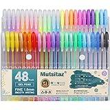 Mutsitaz Set di 48 Glitterate Penne Gel Colorate per per Scrittura,Colorare o Manga , Disegnare (12 Metallico + 12 Glitterato