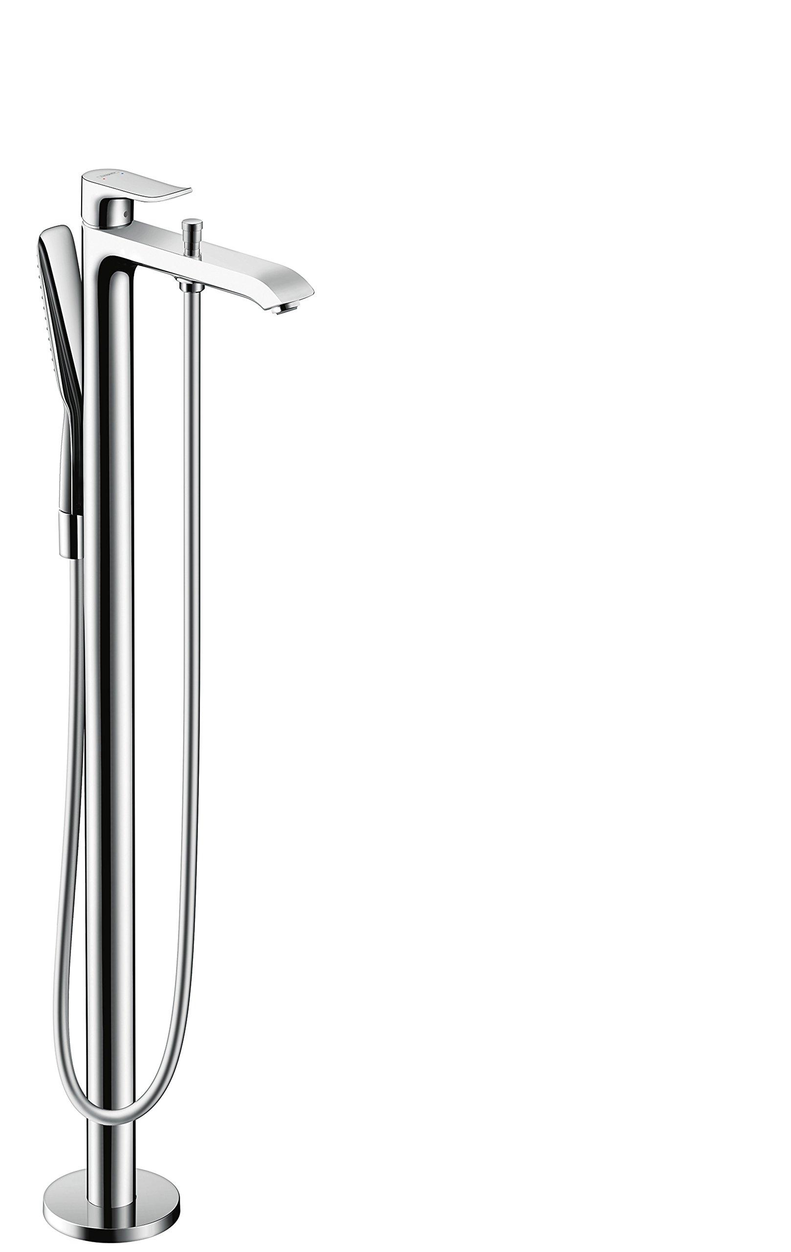 Hansgrohe Metris – Grifo de pie con ducha de mano para bañera, cromo