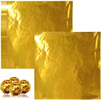 Emballages De Bonbons, 200 Feuilles De Papier Aluminium Doré Brillant Pour Bonbons, Chocolats, Sucettes ( 10*10 Cm)