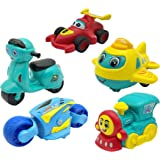 Adichai Fun Autos Unbreakable Bigger Size Pull Back Vehicles,Push and Go Crawling Toy, Transport Vehicle Toys for Kids, Scoot