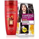 L'Oreal Paris Casting Creme Gloss Hair Color (Ebony Black 200) & Color Protect Shampoo, 87.5g + 72ml and 192ml(352ml) (Pack o
