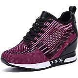 AONEGOLD® Sneakers Zeppa Donna Scarpe da Ginnastica Basse Sportive Fitness Scarpe con Zeppa Interna Sneaker Casual Tacco 8 cm