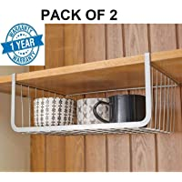 Callas Set of 2 Under Shelf Basket Wire Rack Slides Under Shelf, Kitchen Organizer, White, Medium