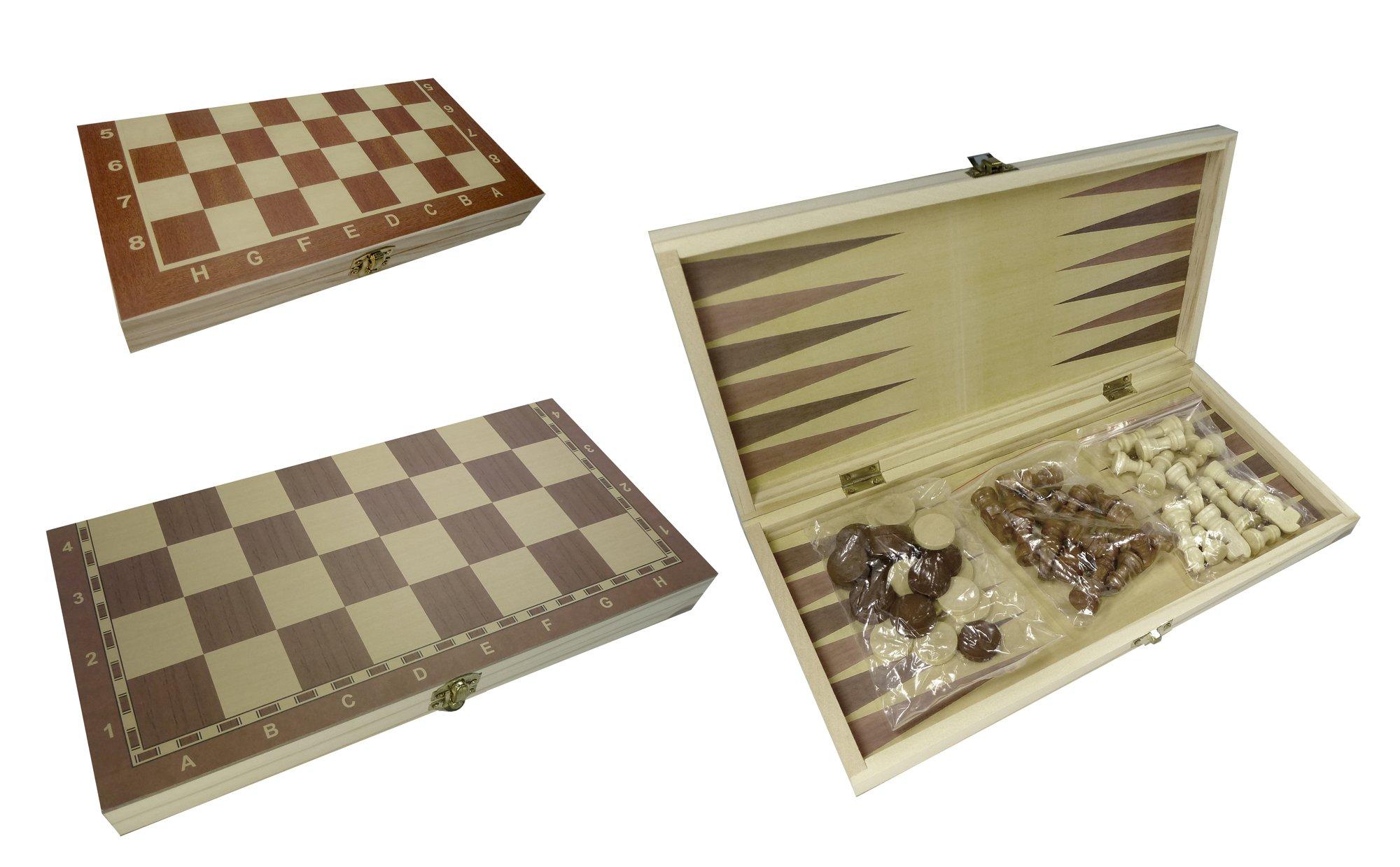 CT-Schach-Dame-Backgammon-Spielbrett-3-in-1-in-Klappbox-aus-Holz CT Schach Dame Backgammon Spielbrett 3 in 1 in Klappbox aus Holz (24 cm) -