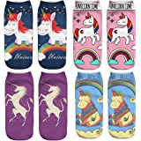 4 pares de calcetines para unicornio 3D de dibujos animados de la novedad Calcetines Calcetines escote para el barco suaves c
