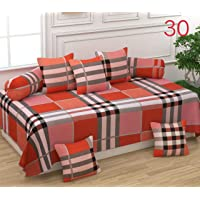 Naini Home 200 TC Cotton Diwan Set of 6 Piece, 1 Bedsheet 60X90 Inch. 5 Piece 16 x 16 inch Cushion Covers and 2-18 x 28 inch Bolster Covers Color 19