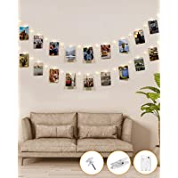 50LED Photo Clip String Lights, Kolpop 5M Photo Peg Fairy Lights Indoor with 30 Clips Battery Powered Cooper Wire…