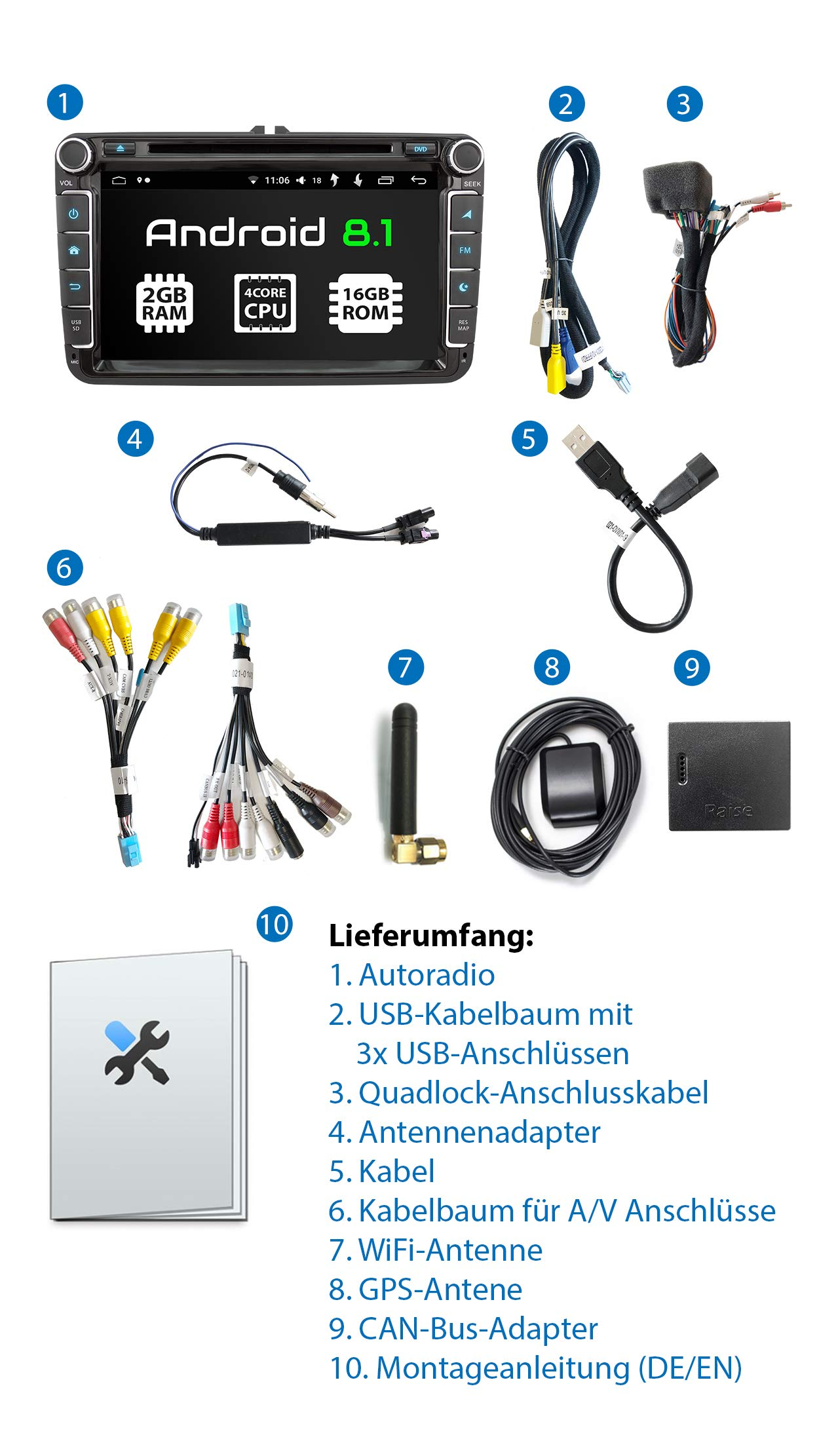 XOMAX-XM-11GA-Autoradio-passend-fr-VW-SEAT-Skoda-mit-Android-81-I-4Core-I-GPS-Navigation-I-DVD-CD-USB-SD-I-Support-WiFi-4G-DAB-OBD2-I-Bluetooth-I-8-Zoll-203-cm-Touchscreen