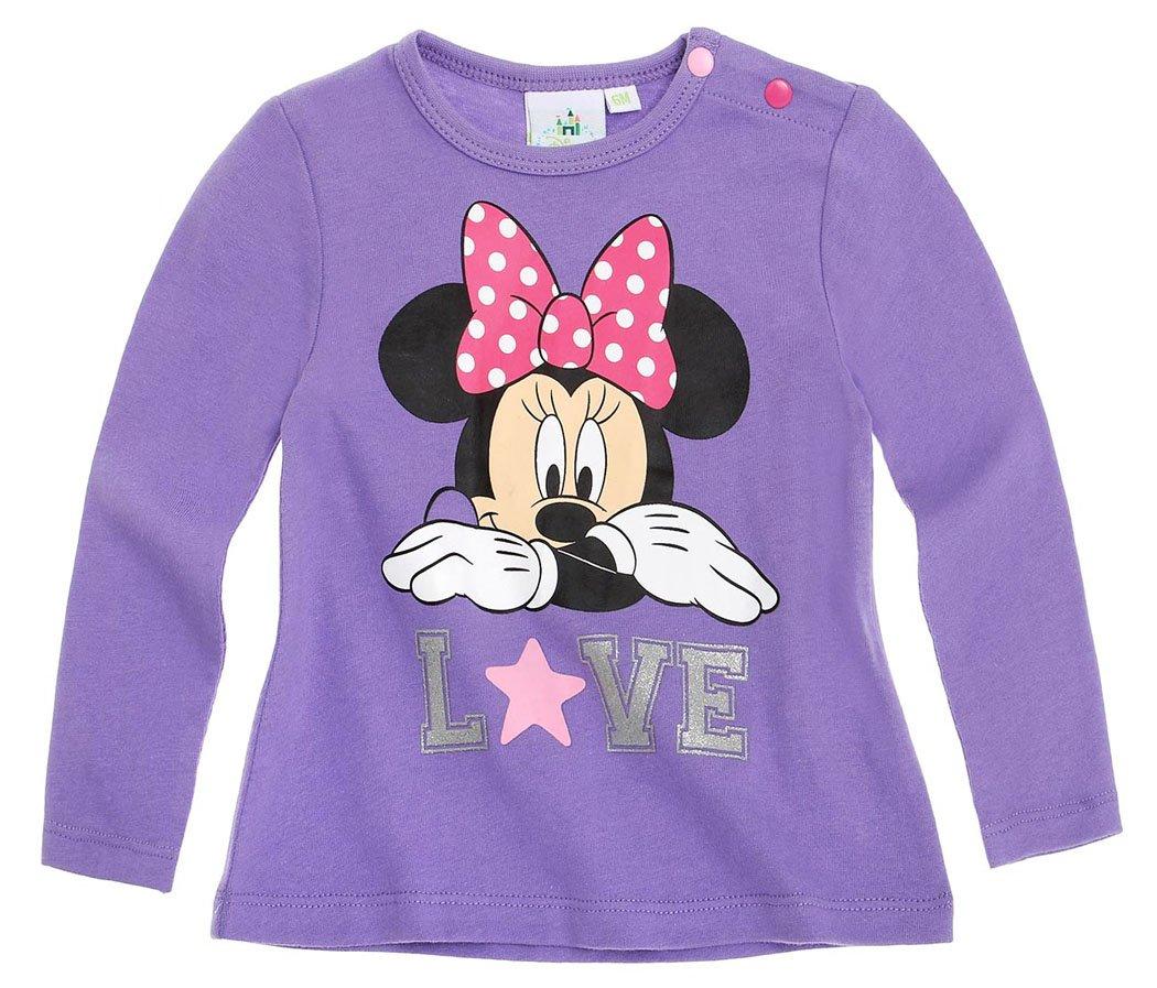 Maglia a maniche lunghe per bambino, motivo Minnie 'Love'da 6 a 24 mesi, colore: viola Viola viola