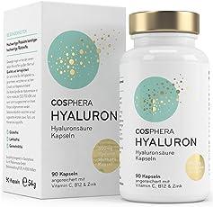 Hyaluronsäure Kapseln - Hochdosiert mit 350 mg pro Kapsel. 90 vegane Kapseln im 3 Monatsvorrat - 500-700 kDa - Angereichert mit Vitamin C, B12 und Zink - Für Haut, Anti-Aging und Gelenke - Cosphera
