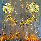 Party Propz Birthday Decoration Items Kit- 10Pcs Bday Banner Confetti Balloon with Led Light for Kids, Husband Girls Boys Bda
