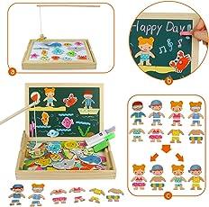 Akokie Lavagna Magnetica Bambini Gioco Pesca Pesci Puzzle Magnetico Gioco di Vestiti 110 PCS Puzzle Bambini 3 4 5 6