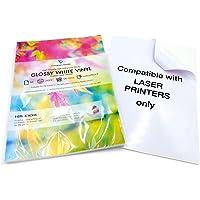 Lot de 10 feuilles autocollantes A4 en vinyle imperméable imprimables au laser (PVC) Blanc brillant