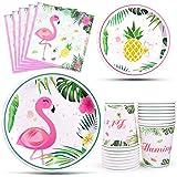 WERNNSAI Articles de fête Flamingo - Luau Vaisselle pour Fille Baby Shower Anniversaire Parties Tropical Hawaïen à Thème Assi
