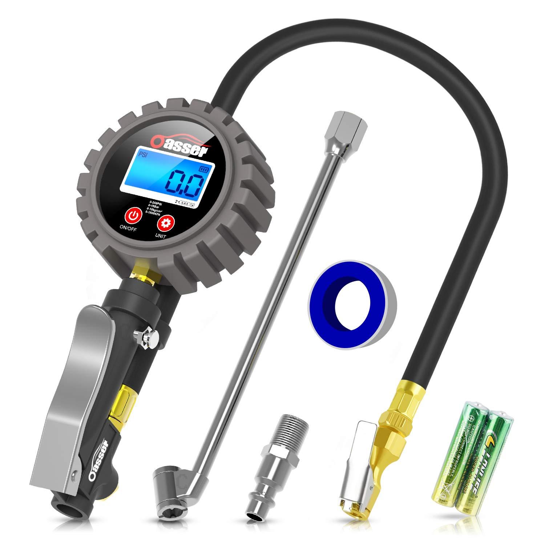 Oasser Manómetro Presión Neumáticos Digital 0-18bar Manómetro Inflador Neumáticos para Compresor Medidor Presión…