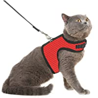 Pedigone Combo of Red Cat Harness with Black Leash, Adjustable Cat Harness Leash. (Small, Red)