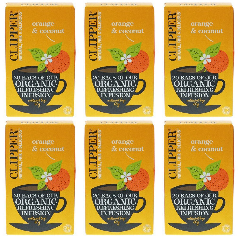 Clipper organic orange and coconut tea bundle (soil association) (infusions) (6 packs of 20 bags) (120 bags) (a fruity tea with aromas of coconut, orange) (brews in 2-5 minutes)