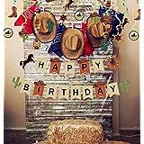 JeVenis 35 piezas Cowboy Cake Decoración Cowboy Cumpleaños Fiesta Decoración Little Cowboy Party Decoración Tema occidental C