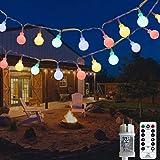Ampoules d'extérieur à chaîne légère, 12M 120 LED avec transformateur 31V, 8 modes de guirlandes de Noël pour balcon et chamb