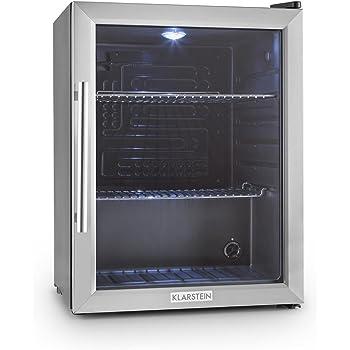 Klarstein Beersafe XL • Minibar • Mini-Kühlschrank • Getränkekühlschrank • 60 Liter • leise • 42 dB • Edelstahl • Glastür • 2 Einschübe • 5-stufiger Temperaturregler • schwarz-silber