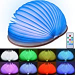 Foldable LED Book Light Qoosea Wireless LED Mood Lighting USB Rechargeable Folding Book Lamp Remote Control with Dimmer...