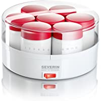 SEVERIN Yaourtière, 14 Pots de 150 ml Inclus, Graduation Mémo, JG3519, Blanc/Rouge