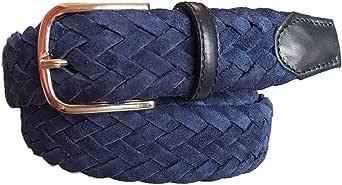 ESPERANTO Cintura uomo donna intrecciata di pelle scamosciata Foderata in Cotone-ALT 3,5 CM colore Blu, misure da 100 cm a 170 cm