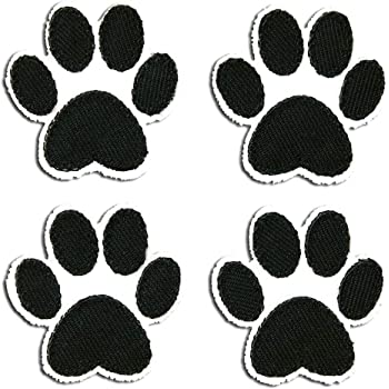 Iron on Sew on Embroidered Patch From PatchWOW Black Paw Print HQ