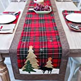 DotPet Christmas Table Runners Tree and Deer Table Runner for Family Christmas Holiday Table Christmas Dinner Party Table Dec